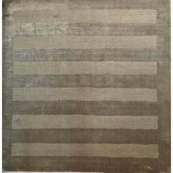 Wide Stripe Taupe Area Rug by Exquisite Rugs