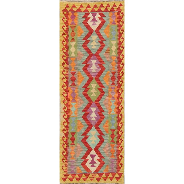 One-of-a-Kind Canton Oriental Kilim Geometric Canton Handwoven Flatweave Runner 2'3 x 6'5 Wool Red/Green/Ivory Indoor Area Rug