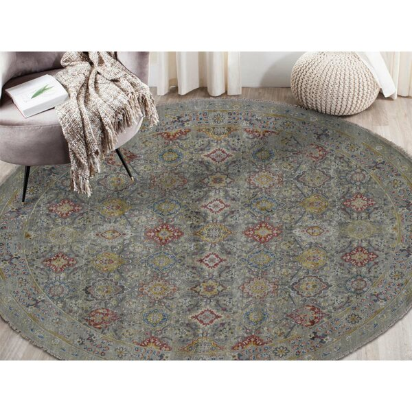 One-of-a-Kind Waukesha Hand-Knotted 2010s Gray 10' Round Area Rug