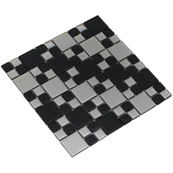 Rousha 12 x 12 Glass Mosaic Tile in Black/Silver by Mirrella