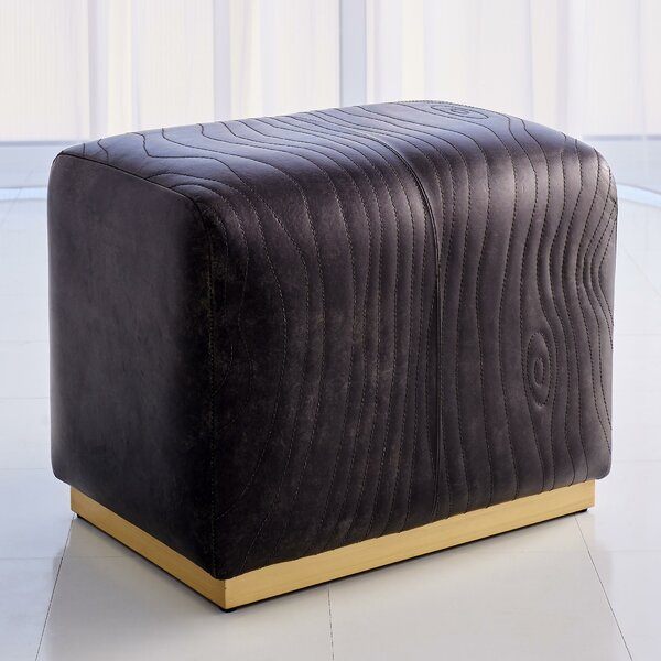 Forest Leather Ottoman By Global Views