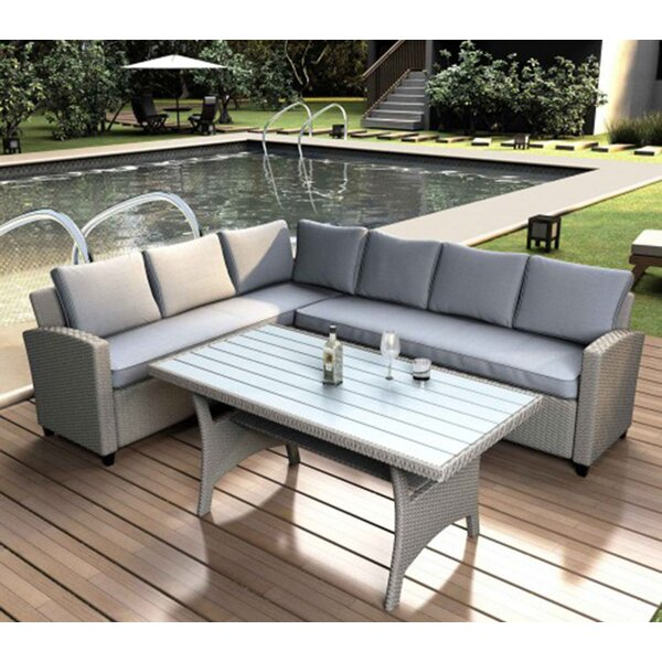 Collinsburg Rattan 3 Piece Sectional Seating Group by Latitude Run