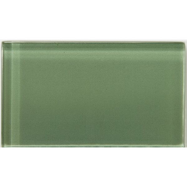 Lucente 3 x 6 Glass Subway Tile in Billiard Green by Emser Tile