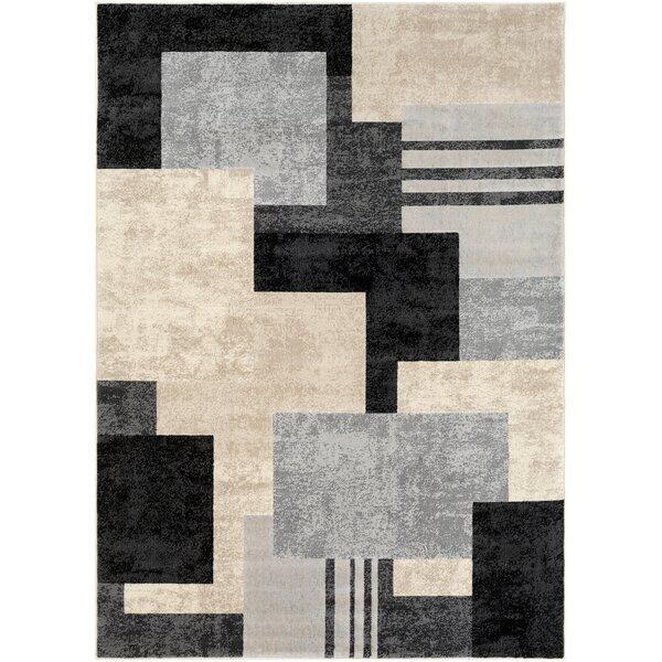 Ashlee Geometric Black/Light Gray Area Rug by Orren Ellis