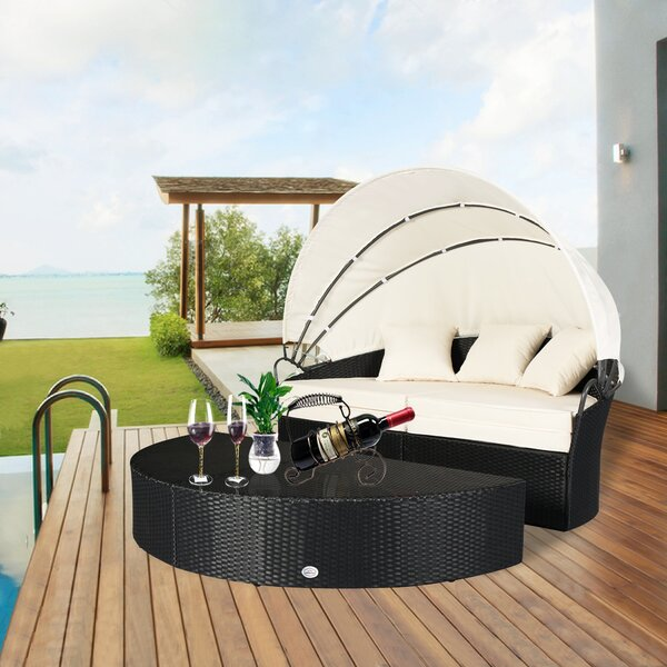 Noor Rattan Patio Daybed with Cushions by Latitude Run