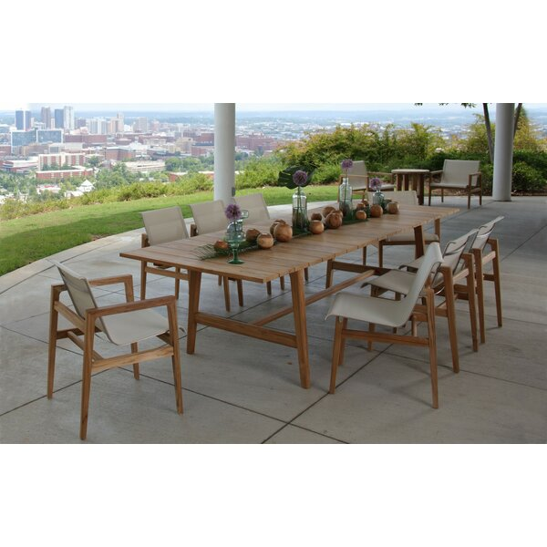 Coast 9 Piece Teak Dining Set with Cushions by Summer Classics