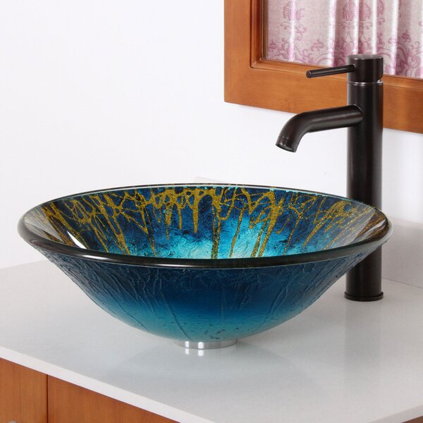 Enchantment Glass Circular Vessel Bathroom Sink with Faucet by Elite