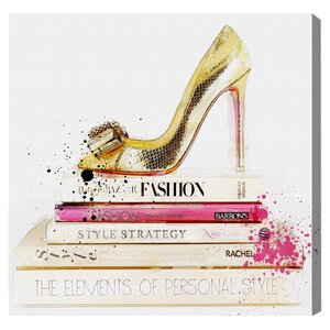 'Gold Shoe and Fashion Books' Graphic Art Print by Willa Arlo Interiors