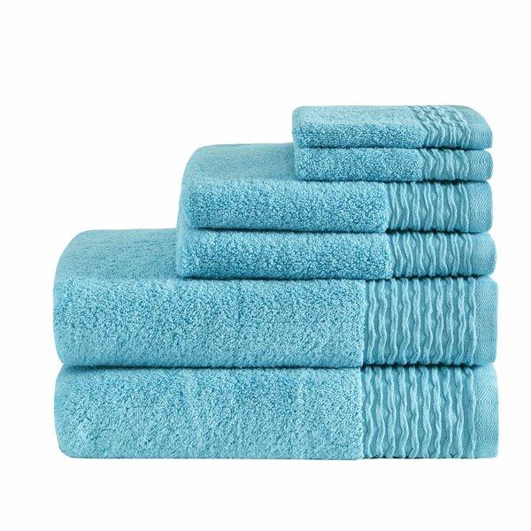 Dash Jacquard Wavy Border Zero Twist Cotton 6 Piece Towel Set by Ebern Designs