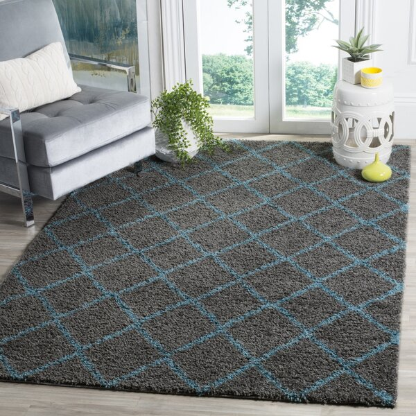 Amicus Gray/Turquoise Area Rug by Wrought Studio