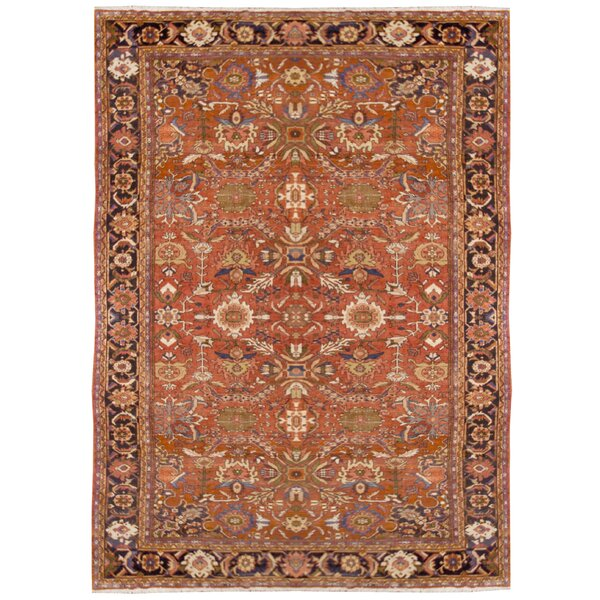One-of-a-Kind Hand-Knotted 1910s Red 9'2 x 12'9 Wool Area Rug