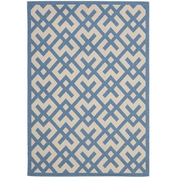 Quinlan Beige/Blue Indoor/Outdoor Rug by Mercury Row