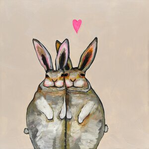 'Bunny Friends' by Eli Halpin Painting Print on Wrapped Canvas in Cream by GreenBox Art