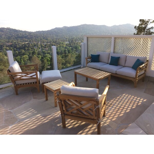 Reyes 6 Piece Teak Sunbrella Sofa Seating Group with Sunbrella Cushions by Rosecliff Heights