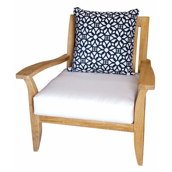 Celia Deep Seating Teak Patio Chair with Sunbrella Cushions by Rosecliff Heights