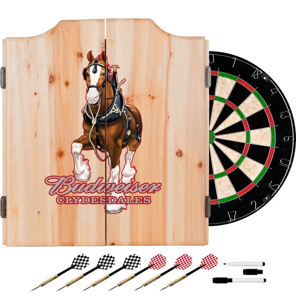 Budweiser Clydesdale Dartboard and Cabinet Set by Trademark Global