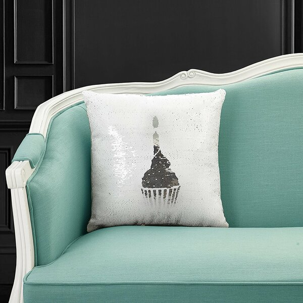 Dorazio Reversible Sequin Cupcake Indoor/Outdoor Throw Pillow by Wrought Studio