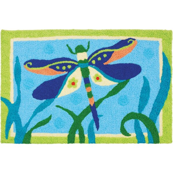 Mcgoldrick Fancy Dressed Dragonfly Hand-Tufted Blue/Green Indoor/Outdoor Area Rug by August Grove