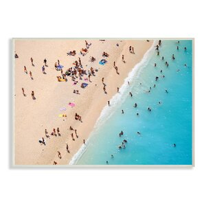 Aerial Beach View Sunbathers' Photographic Print by Stupell Industries