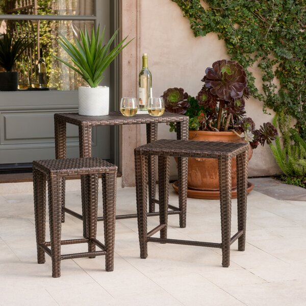 Kinslow 3 Piece Wicker Nesting Table Set by Mercury Row
