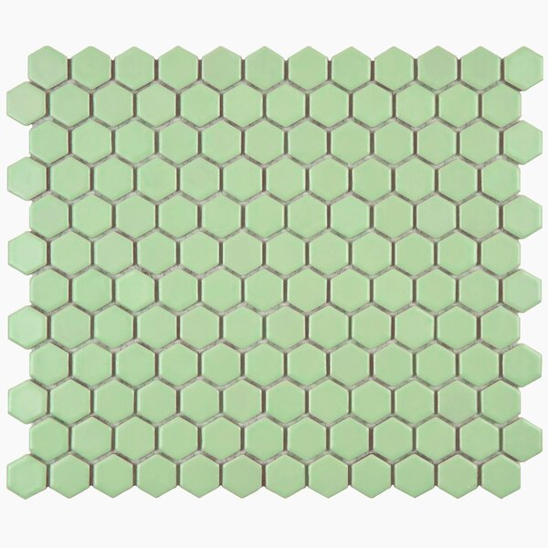 Retro Hexagon 0.875 Lx 0.875 Porcelain Mosaic Tile In Matte Light Green By Elitetile.