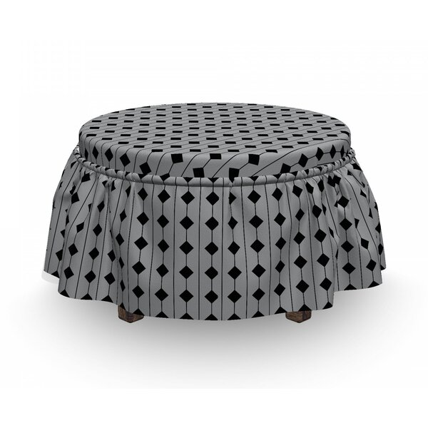 Square And Stripes Ottoman Slipcover (Set Of 2) By East Urban Home