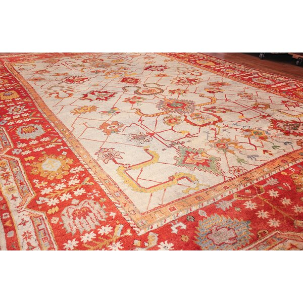 One-of-a-Kind Turkish Hand-Knotted 1900s Red 14'2 x 19' Wool Area Rug
