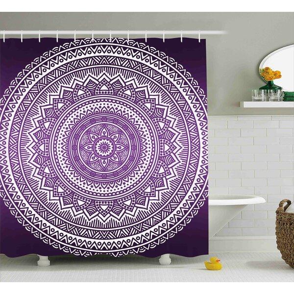 Lynn Purple Ombre Mandala Art Print Bright Floral Pattern Boho Hippie Inspired Decorations Shower Curtain by Ebern Designs