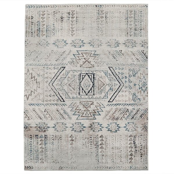 Rossi Abstract White/Blue Area Rug by Union Rustic
