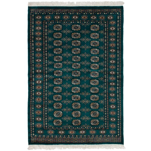 One-of-a-Kind Groth Hand-Knotted Wool Teal Area Rug by Isabelline