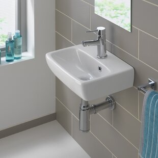 Reviews Twins Vitreous China 15 Wall Mount Bathroom Sink with Overflow By Bissonnet