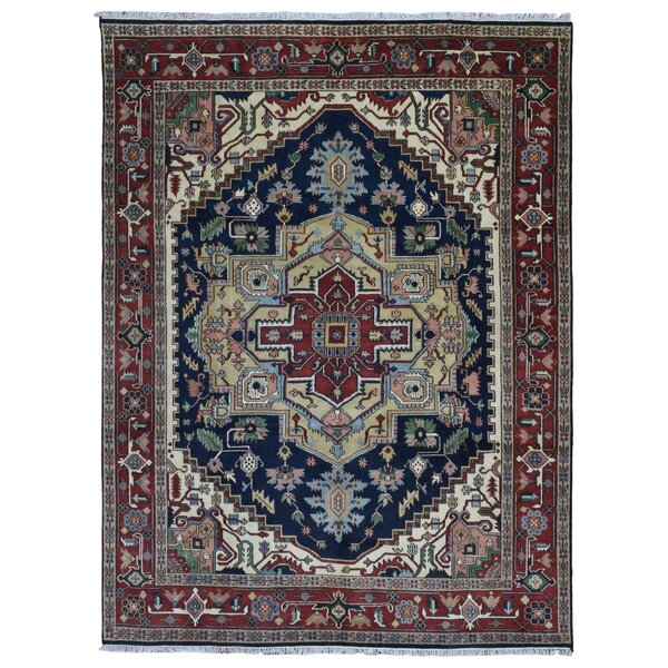 One-of-a-Kind  Roselle Oriental Hand Woven Wool Blue Area Rug by Bloomsbury Market