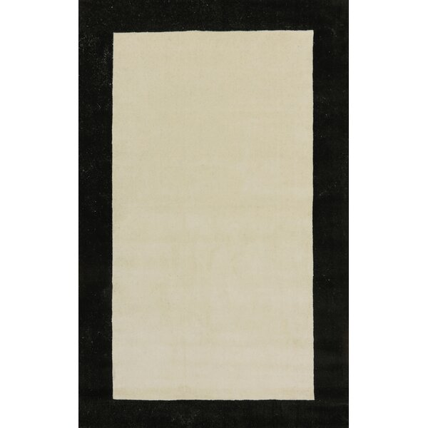Manhattan Ivory Solid Bordered Area Rug by Dynamic Rugs