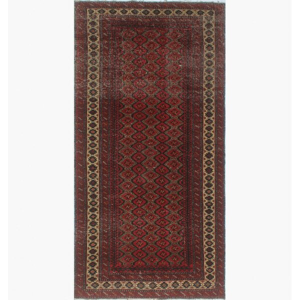 One-of-a-Kind Brook Semi Antique Turkman Hand-Knotted Red Area Rug by Isabelline