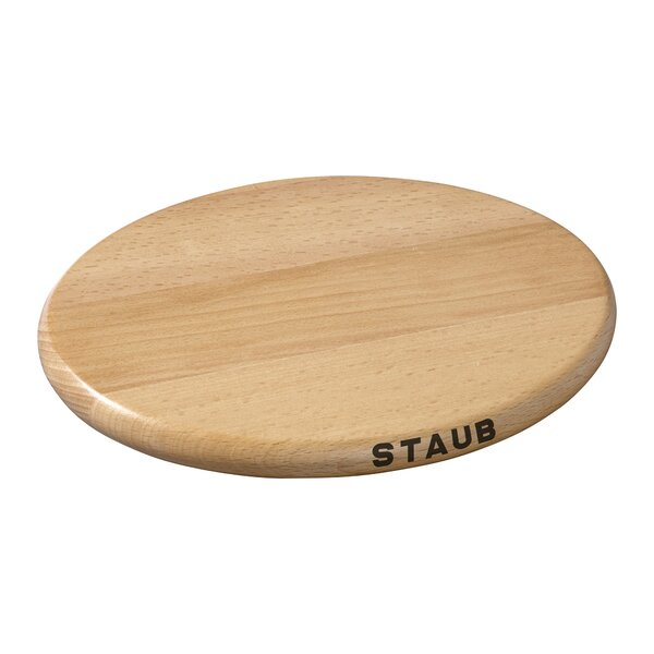 Magnetic Oval Wood Trivet by Staub