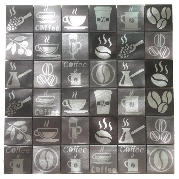 Coffee Lovers 2 x 2 Metal Mosaic Tile in Silver by WS Tiles