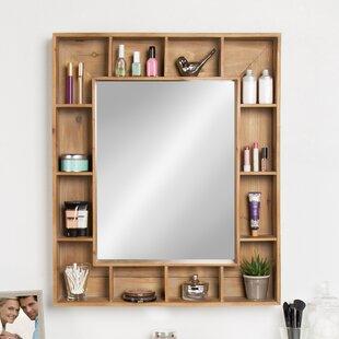 Attirant Gretel Rustic Wood Cubby Framed Wall Storage Accent Mirror