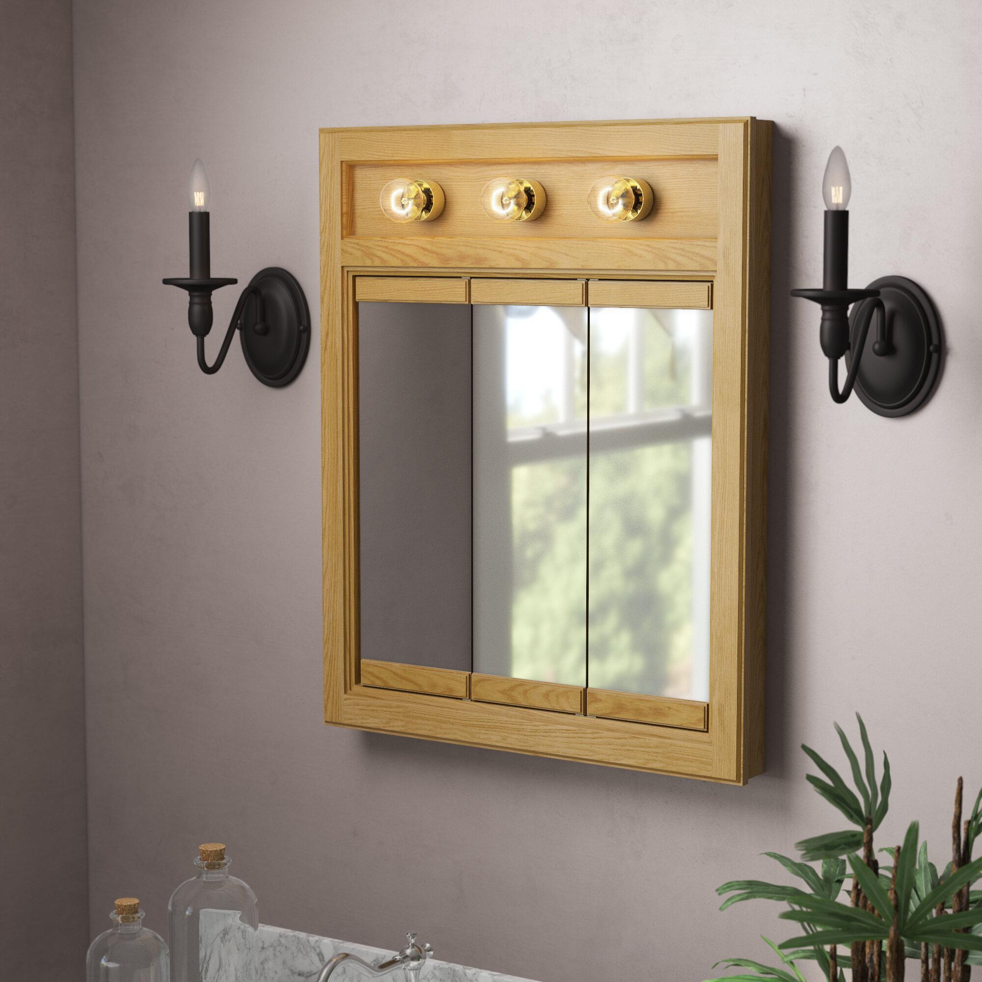 Winston Porter Searle Surface Mount Framed 3 Door Medicine Cabinet With 2 Adjustable Shelves And Lighting Reviews Wayfair
