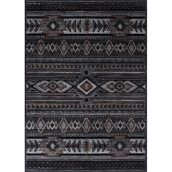 Cima Tribal Style Gray/Black Area Rug by Loon Peak