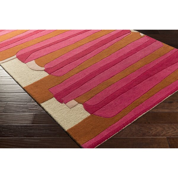 Nida Hand-Tufted Pink/Red Area Rug by Wrought Studio