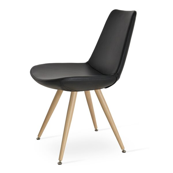 Eiffel Star Genuine Leather Upholstered Dining Chair in Black PPM Leatherette by sohoConcept