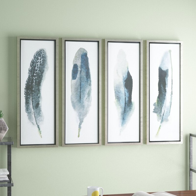 Brayden Studio Feathered Beauty Prints 4 Piece Framed Graphic Art ...