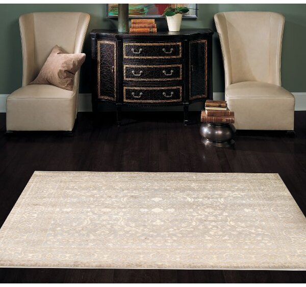 Hand Knotted Wool/Silk Ivory Area Rug by Pasargad NY