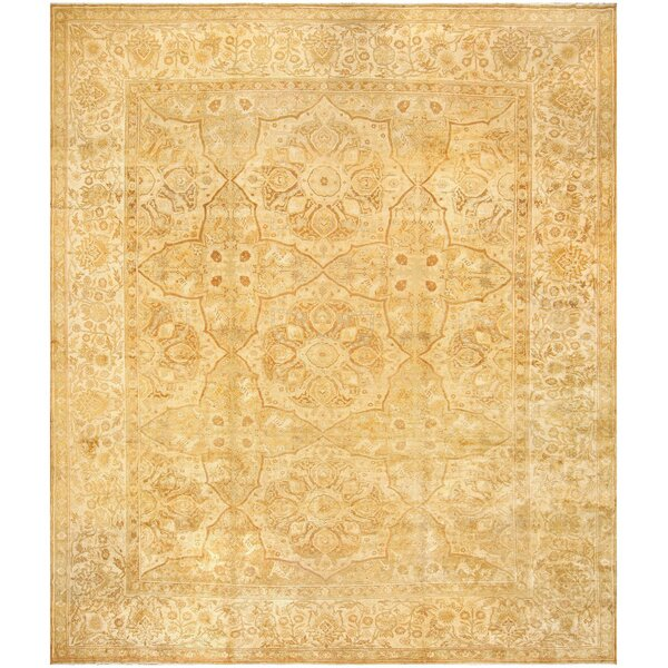 One-of-a-Kind Agra Hand-Knotted Gold 16' x 19'6 Wool Area Rug
