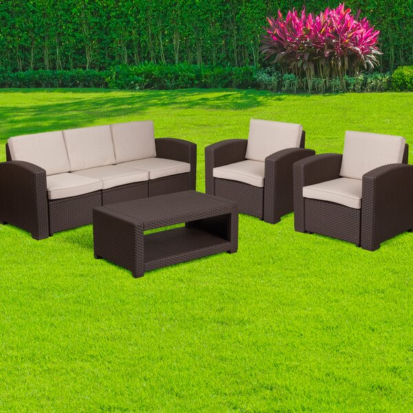 Resendiz 4 Piece Sofa Set With Cushions By Wrought Studio by Wrought Studio Best Choices