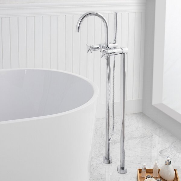Dundee Double Handle Floor Mounted Freestanding Tub Filler with Handshower by Maykke