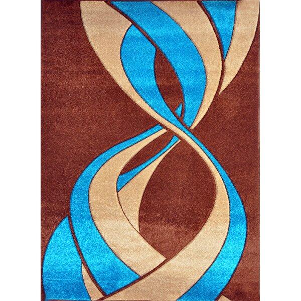 Melfa Modern Abstract Blue/Brown Area Rug by Orren Ellis