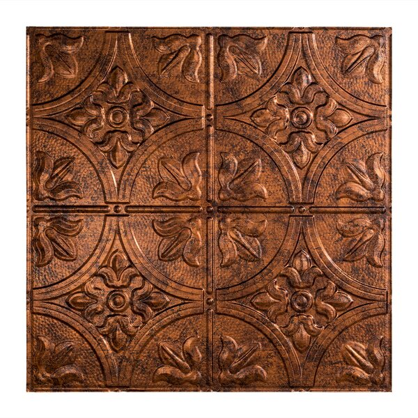 Traditional 2 2 ft. x 2 ft. Drop-In Ceiling Tile in Moonstone Copper by Fasade