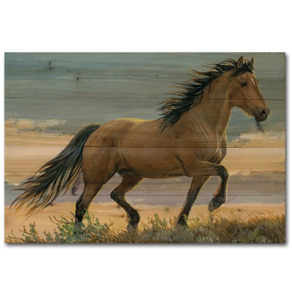 Buckskin Stallion Painting Print Plaque by WGI-GALLERY