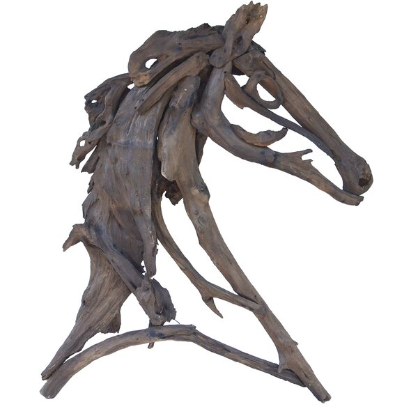 Wood Teak Branches Equus Bust by Loon Peak